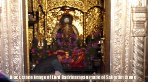 About black stone image of Lord Badrinarayan made of Saligram stone