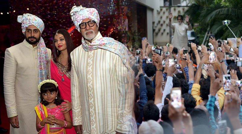 Amitabh Bachchan's family in wedding with royal look!
