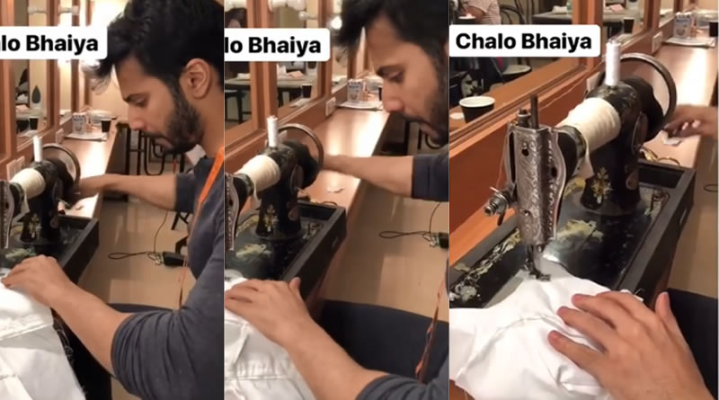 Varun Dhawan sews a shirt for his next Sui Dhaaga!