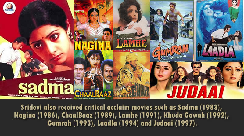 Sridevi also received critical acclaim movies such as Sadma (1983), Nagina (1986), ChaalBaaz (1989), Lamhe (1991), Khuda Gawah (1992), Gumrah (1993), Laadla (1994) and Judaai (1997).