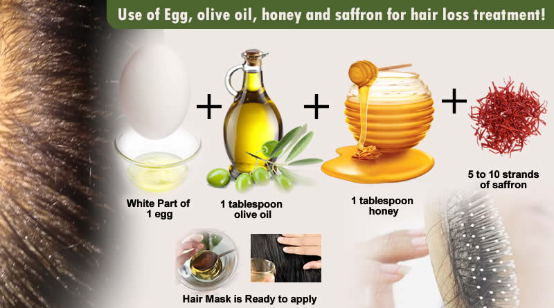 Use of Egg, olive oil, honey and saffron for hair loss treatment!