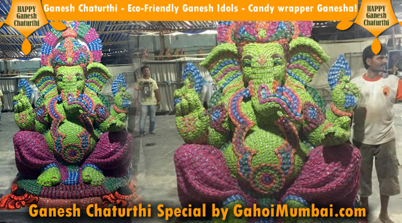 Ganesh Chaturthi - Eco-Friendly Ganesh Idols - Candy wrapper Ganesha!
