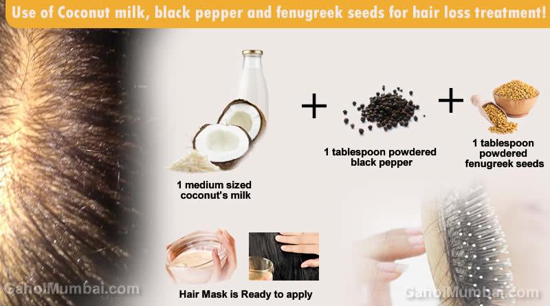 Use of Coconut milk, black pepper and fenugreek seeds for