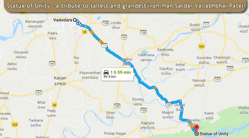Statue of Unity - route on google map from Vadodara