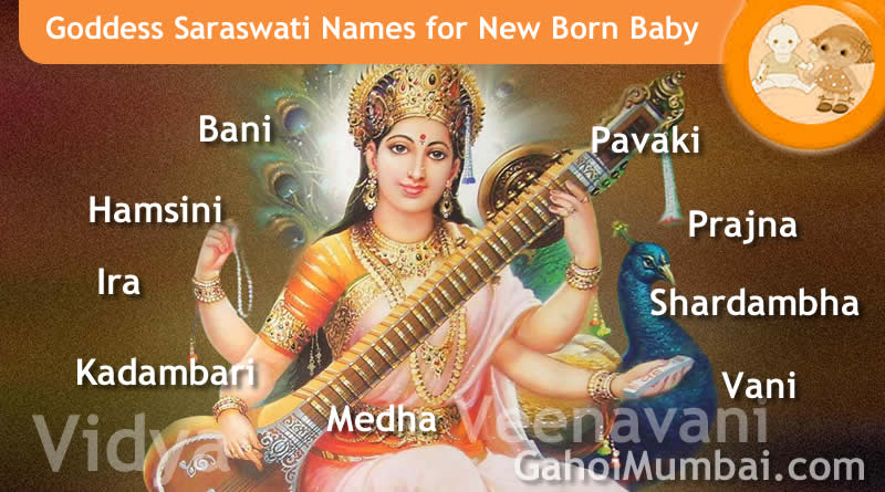 Goddess Saraswati names - Indian, Hindu and Mythological Gods and Goddesses Names from letter A to Z