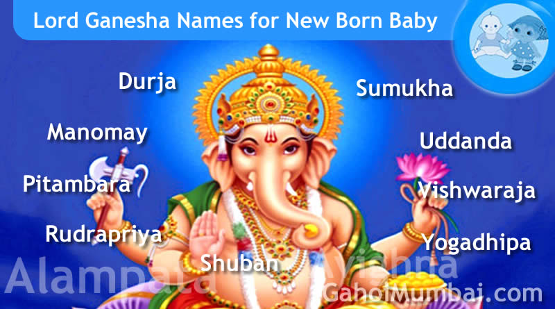 Lord Ganesha names - Indian, Hindu and Mythological Gods and Goddesses Names from letter A to Z