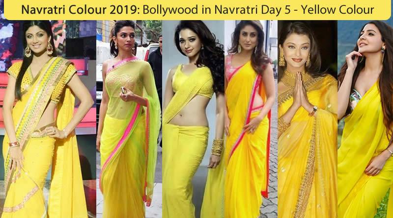 Navaratri colour 2019 - Bollywood Actress Navratri Colour Yellow for Thursday - 5 Day
