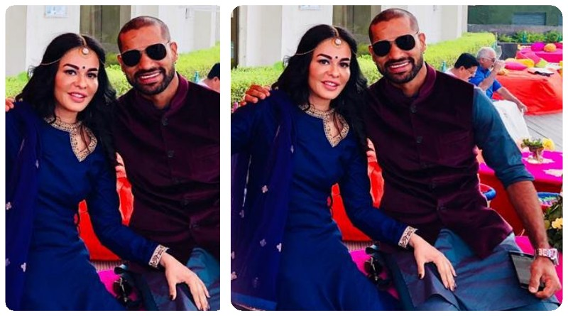 Cricketer Shikhar Dhawan with his wife for Karva Chauth 2019