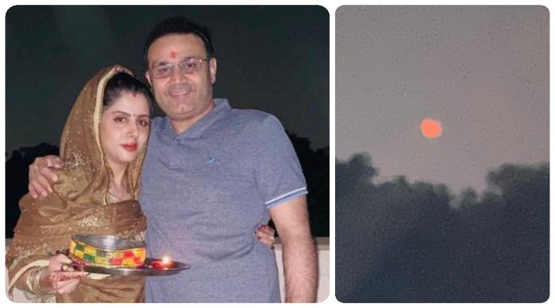 Cricketer Virendra Sehwag with his wife for Karva Chauth 2019